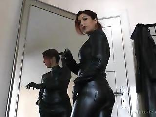 black, cuir, maîtresse, pov, fumeur