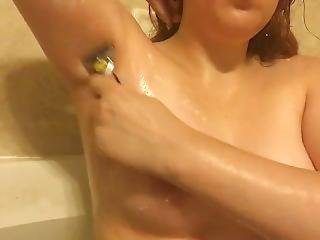 Topless Redhead Washing And Shaving Sexy Armpits - Perky Tits - Bath Tub