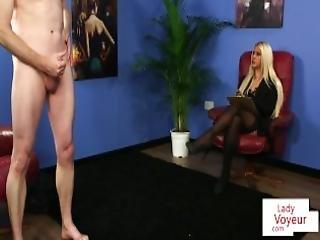 britisk, brystet, classy, møkkete, runking, kontor, sex, strømpe, voyeur