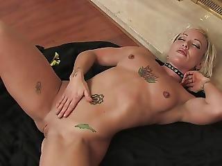 Horny Blonde Masturbates Near Fireplace