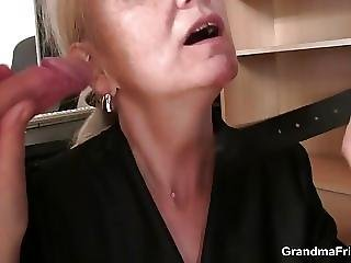 Skinny Blonde Old Grandma Swallows Two Cocks