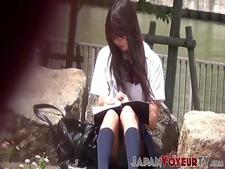 Unaware Japanese Schoolgirls Show Panties To Voyeur! Pretty Sweeties Had No Clue That They Were Being Filmed The Whole Time!