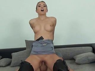 Blonde Mistress In Boots Teases And Fucks Slave In Bondage