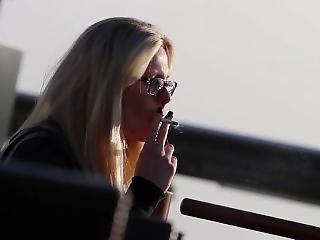 Smoking Blonde Candid