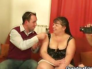 Chubby Mature Babe Takes Two Cocks At Once