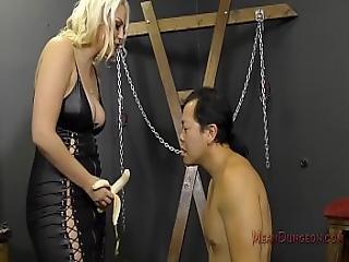 asiat, bitch, fangekælder, hovedsidning, femdom, fod, gudinde, slik, elskerinde, slave, tilbedelse