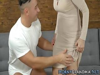 Fingered Grandmother Gobbles Cock And Rides For Cum In Mouth