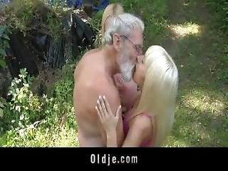 Bearded Oldman Threesome With Blonde Teens