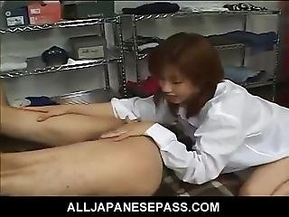 Teenie  At Work Plays With A Co-workers Cock Before Getting Ready For Her Shift