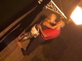 Old Couple Kissing