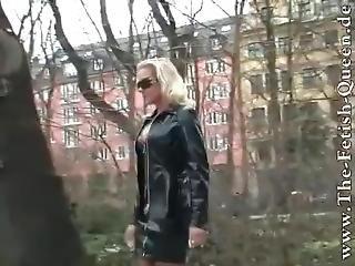 amatør, blond, fetish, tysk, latex, offentlig