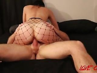 College Slut Sucks & Fucks In Fishnets