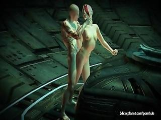 There Is No Escape With This Creature Of Space   Tight Pussy Gets Hammered
