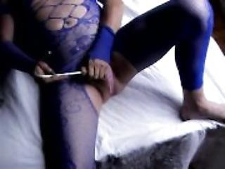 transvestite sissy in pantyhose nylon blue of cock sounding urethral toy