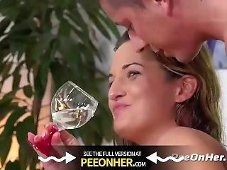 Peeonher - Kinky Brunette Gulps Down Piss During Sex Session