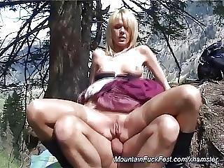 肛門の, 大きなブーブ, ブロンド, おっぱい, 熟女, 山, アウトドア, セックス