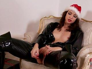 Hot Girl In Latex Leggings Masterbating Before Christmas
