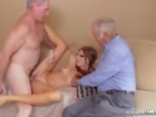 amateur, oud, oudere man, poes, roodharige, geschoren, trio, jong