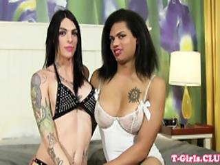 Anally Plowed Tranny Enjoys Lesbian Foreplay