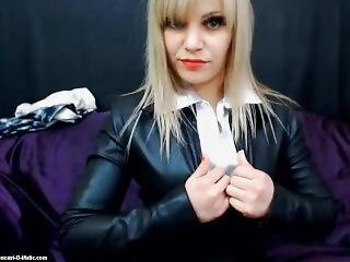 Leather Catsuit Webcam Girl Dildo