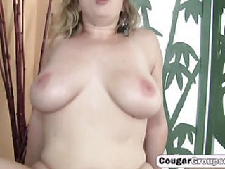 3 Horny Brunette Cougars Go Crazy For A Huge Fat Cock