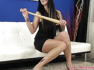 Emo Babe Masturbating With Baseball Bat
