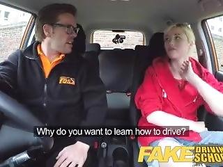 Fake Driving School Back Seat Pussy Squirting And Creampie For Art Student