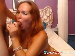 A Red Haired Camwhore Tan Lines On Her Big Boobies And Ass Sucks And Get Fucked In Her Butthole For Her Viewers Pleasure
