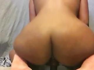 Slut Gf Rides Big Dildo W/ Diamond Butt Plug