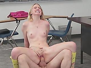 Slender Teen Schoolgirl Riding Cock Like Crazy