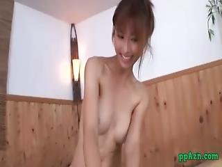 Asian Girl Getting Her Pussy Fucked Cum To Condom Sucking Cock On The Towel In T