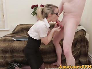 Spex British Babe Fullyclothed While Sucking