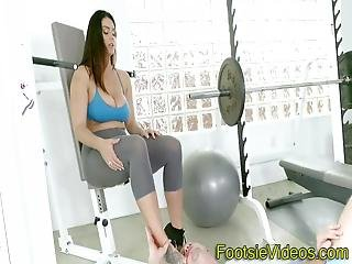 Buxom Whores Feet Spunked Over After Giving Head And Riding Cock