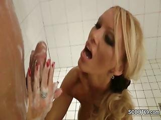 German Step Mother Help Step Son With Handjob In Shower
