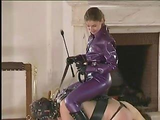 Owk - Mistress In Purple Catsuit And Boots Riding On Her Slave Ponyboy