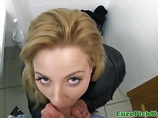 Pulled Euro Doggystyled In Public Restroom