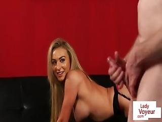 Busty Babe Instructs Male Sub Wank Till Cum