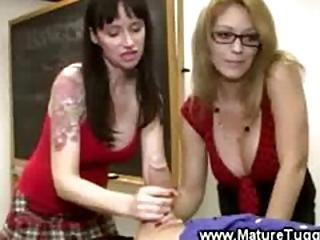 Busty Matures Are Massaging A Dick