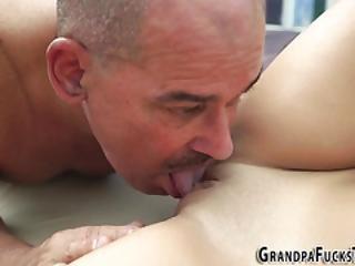 Spunky Teen Fucks Grandpa
