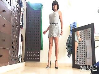 Squares Mini Dress And Strapy High Heels