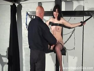 Feet Whipping And Bastinado Of Tied Honesty Cabellero In Foot Spanking And Dunge