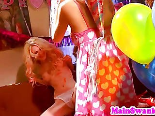 Lesbian Babes Toying Pussy At Birthday Party