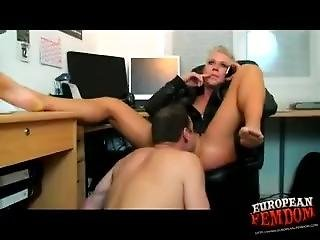 Short-haired, Fit Femdom Chick Has Him Orally Service Her Pussy Like A Boss