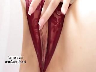 Hot Hot Mom In Bed Masturbating Through Crotchless Panties