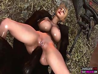 Busty Blonde 3d Slut With Sexy Long Legs Riding Alien Cock Nicely And Taking It From Behind