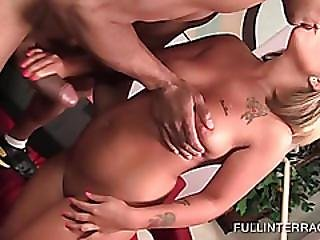 Perky Blonde Teen Banged On A Leather Sofa
