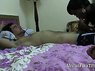 Pitch Black Cock Sucking Girl