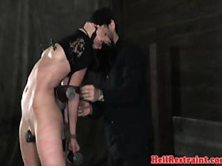 Ballgagged Sub Painfully Punished With Nt
