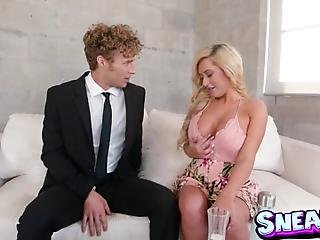 Lonely Brandi Bae Sits Down On The Couch And Teases Michael Vegas With Her Cleavage Until He Can No Longer Contain His Lust For This Sexy Slut I Rubs Michaels Pants Eager To Take Out His Big Cock And Suck Him Dry