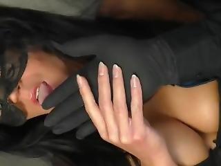 brud, svart, brunett, fistning, tysk, latex, mask, milf, spruta